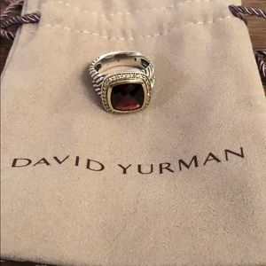 David Yurman ring with garnet stone & diamonds